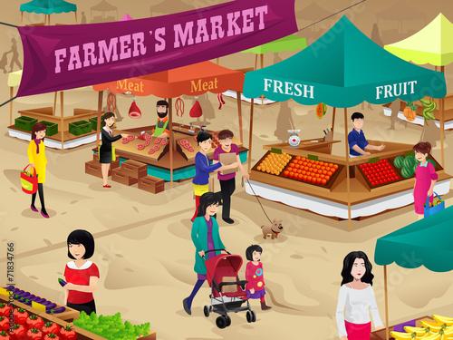 Farmers market scene - 71834766