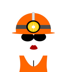 female miner with hard hat
