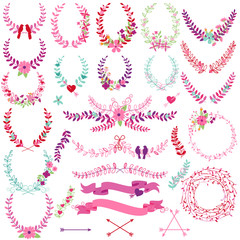 Vector Collection of Valentine's Day or Wedding Themed Laurels a