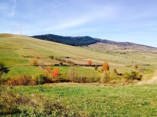 autumn hill with beatiful colors
