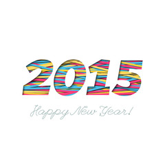Creative greeting card design for New Year 2015