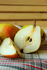 Pear, cut in half.