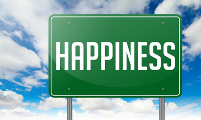 Happiness on Green Highway Signpost.