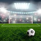 Soccer ball on green stadium arena - 71836913