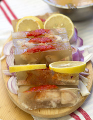 Traditional jelly with lemon garnishing