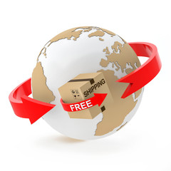 Free shipping over the globe on white background