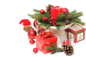 christmas decoration with red gift box