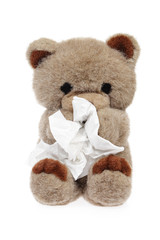 ours en peluche se mouchant