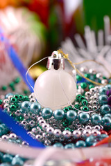 white christmas balls, new year decoration, close up