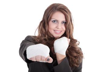 Junge Geschäfts Frau boxt sich durch den Büroaltag