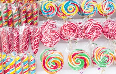 Many sweet and colorful candy placed for sale