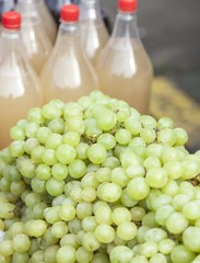 White grapes for sale on the sun light