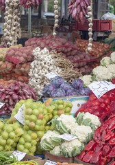 Fresh vegetables for sale in a market