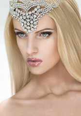 Posh blonde woman in tiara