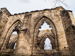 Gothic windows of ruined church