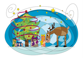 Christmas tree drawing with deer