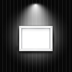 White photo frame on black striped wall. Vector background with