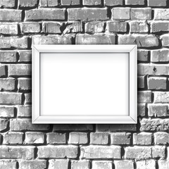 White photo frame on brick wall. Vector background with blank