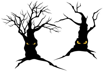 creepy halloween trees with eyes