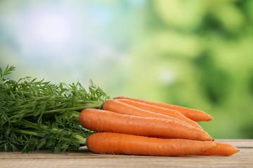 Karotten oder Möhren im Sommer mit Textfreiraum