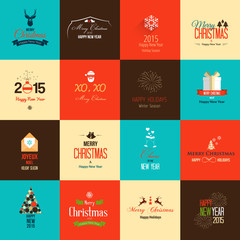 Set of flat icons for Christmas and New Year