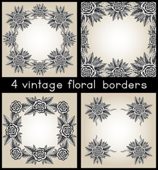 Collection Of Four Vintage Frames With Hand Drawn Roses
