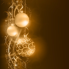 Dark golden Christmas background with hanging Christmas balls