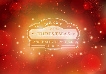 Red Merry Christmas typography background