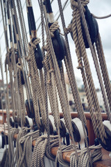 Close Up of Historical Ship Ropes and Rigging
