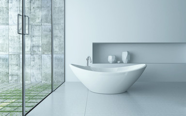 Freestanding bathtub in a modern bathroom interior