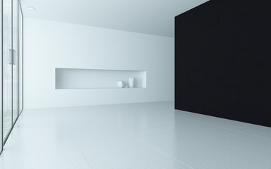 Modern design empty room interior with alcove