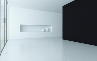Modern design empty room interior with alcove