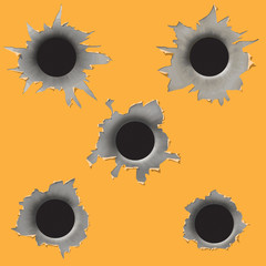 Bullet Black Holes Isolated On Yellow Background
