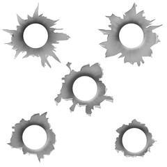 Bullets White Holes Isolated On White Background
