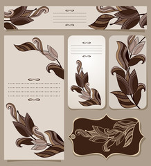 Cards Collection With Vintage Floral Pattern