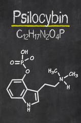 Schiefertafel mit der chemischen Formel von Psilocybin