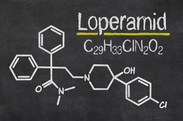 Schiefertafel mit der chemischen Formel von Loperamid
