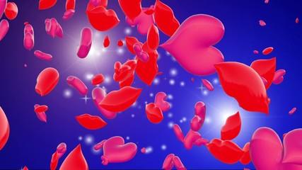 cuori e labbra 3d volanti su sfondo rosso per San Valentino