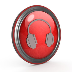 Headset circular icon on white background
