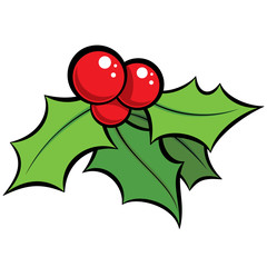 Cartoon vector red and green mistletoe ornament with black outli