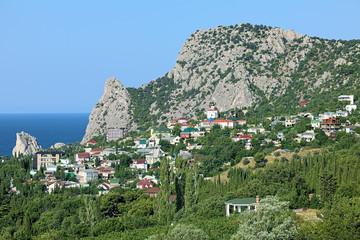 View of Mount Koshka and Simeiz settlement in Crimea