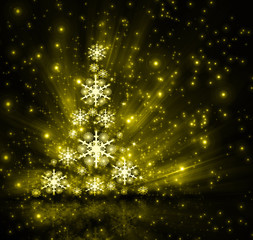 best Christmas golden tree background
