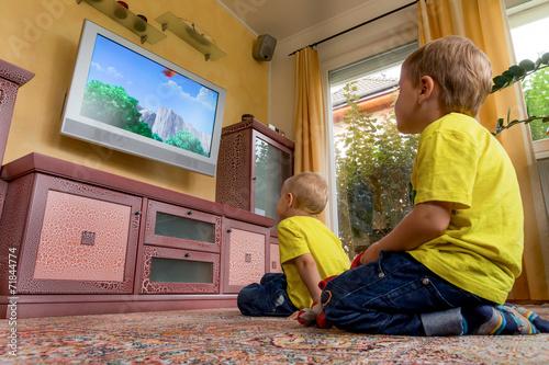 canvas print picture Kinder beim fernsehen