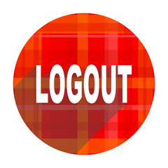 logout red flat icon isolated