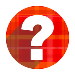 question mark red flat icon isolated