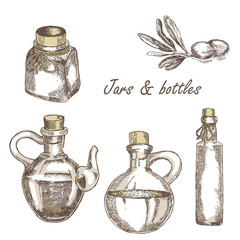 Collection of hand drawn Jars and bottles vintage isolated
