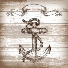 Vintage anchor on wooden background. Hand drawn vector