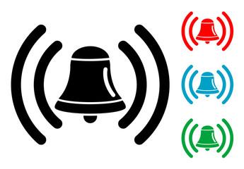 Pictograma campana de alarma con varios colores