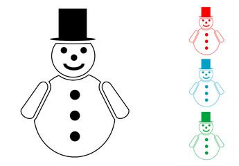 Pictograma hombre de nieve con varios colores