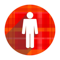 male red flat icon isolated